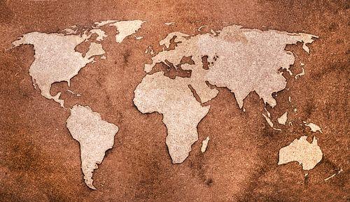 Wereldkaart met houtlook