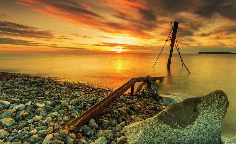 Coucher de soleil sur la plage de Rügen sur Frank Herrmann