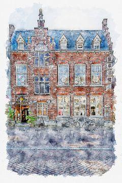 "Chinesisches Restaurant ""De Postkoets"" in Roosendaal (Aquarell) von Art by Jeronimo"