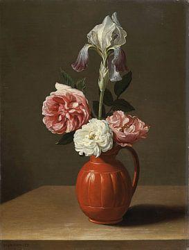 Eine Iris und drei Rosen in einem Tontopf, Jacob Foppens van Es
