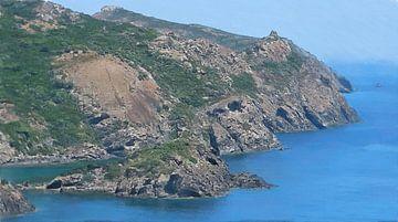 Landschaft - Küstenlinie zwischen Alghero und Bosa auf Sardinien - Gemälde von Schildersatelier van der Ven