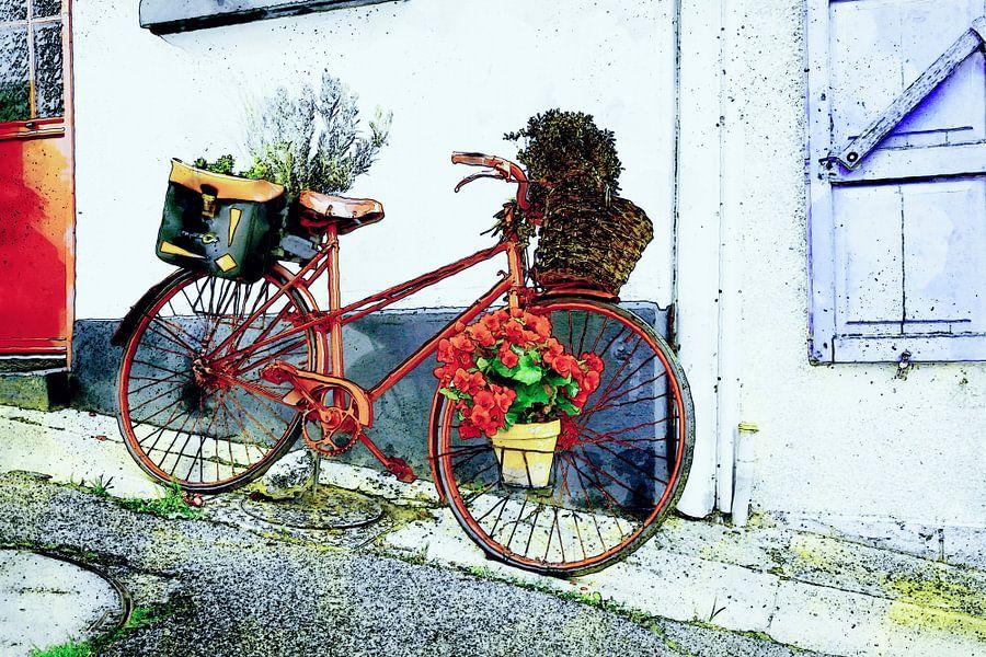 Fiets met bloemen in Saint-Valery-sur-Somme van Jan Sportel Photography