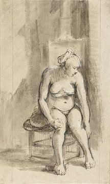 Rembrandt van Rijn, Sitzender Frauenakt an einem Ofen, 1661-1662