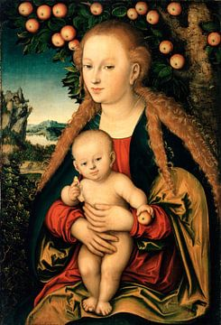 De Maagd met kind onder een appelboom, Lucas L. Cranach. van