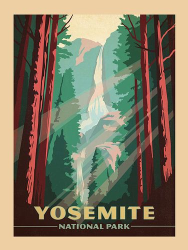 Oude poster van Yosemite National Park