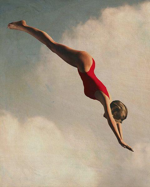 Retro stijl schilderij van een vrouw die in de wolk duikt van Jan Keteleer