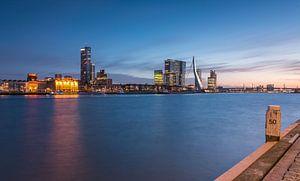 Skyline van Rotterdam in het blauwe uur.