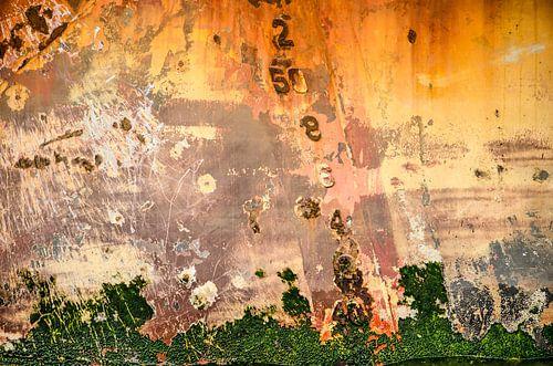 Roodbruine scheepsromp met algen en diepgangsmerk van Frans Blok