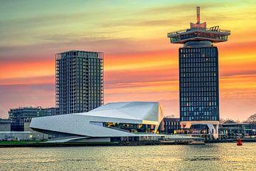 Lever de soleil sur l'IJ près d'Amsterdam sur Fotografiecor .nl