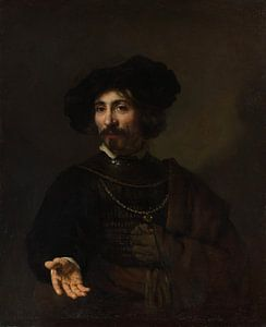 Man with a Steel Gorget, de stijl van Rembrandt van Meesterlijcke Meesters