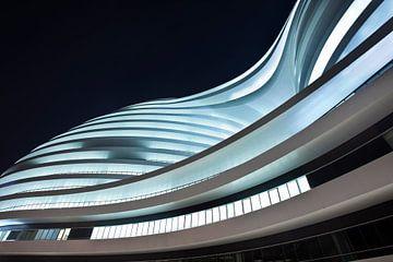 Beleuchtetes Bürogebäude SOHO Galaxy bei Nacht. von Tony Vingerhoets