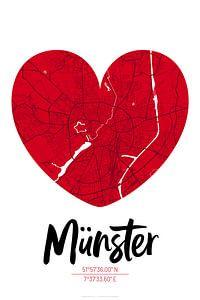 Münster – City Map Design Stadtplan Karte (Herz)
