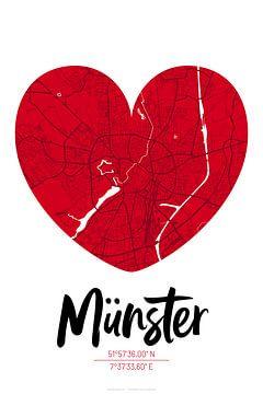 Münster - Stadsplattegrondontwerp Stadsplattegrond (hart) van ViaMapia