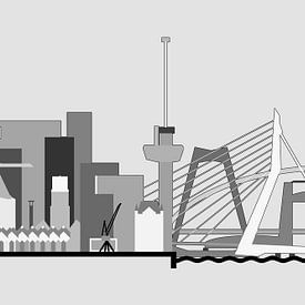 L'horizon de Rotterdam au gris sur Frans Blok