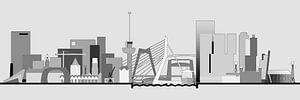 Rotterdamse skyline, grijstinten van