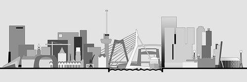 Rotterdamer Skyline, Grautöne von Frans Blok