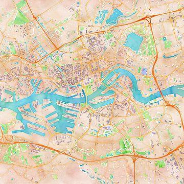 Kaart Rotterdam in waterverf (2) van