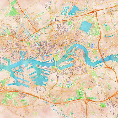 Kaart Rotterdam in waterverf (2)