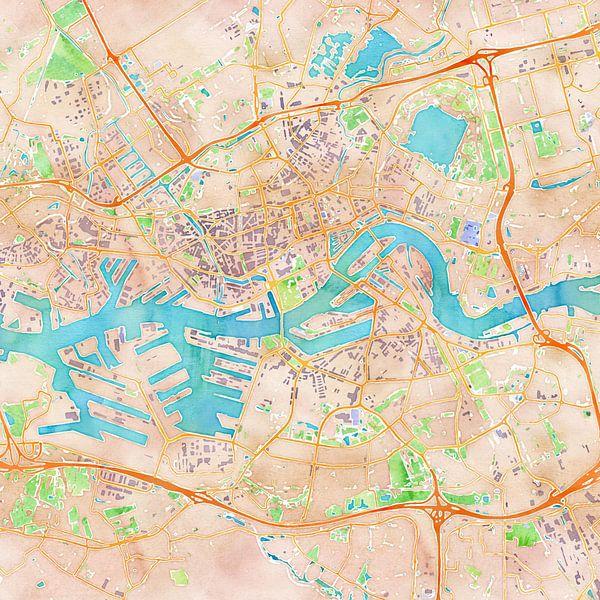 Kaart Rotterdam in waterverf (2) van Creatieve Wereldkaarten