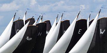Skûtsje classic Frisian sailing Tjalk ships pendant le SKS Skûtsjesilen annuel 2019 sur Sjoerd van der Wal