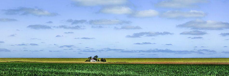 Huisje aan de dijk in kleur