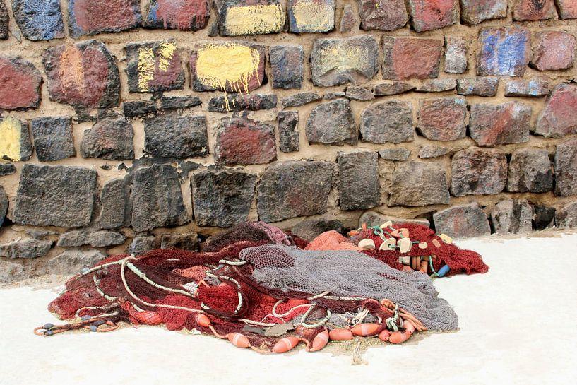 Visnetten bij verweerde muur van Inge Hogenbijl