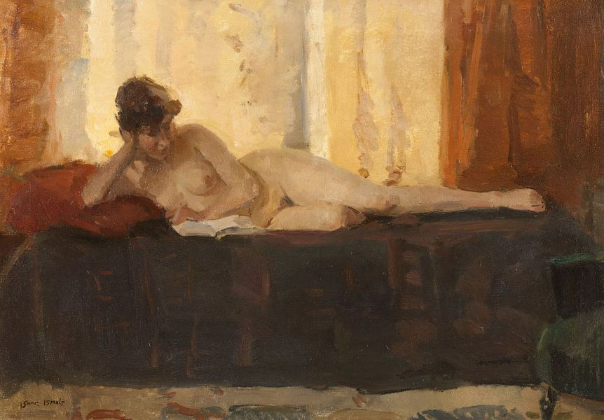 Reclining Nude, Reading, Isaac Israels von Meesterlijcke Meesters