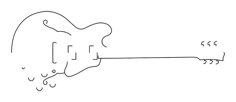 Gitarren-Silhouette (Hohlkörper-Stil) von Drawn by Johan