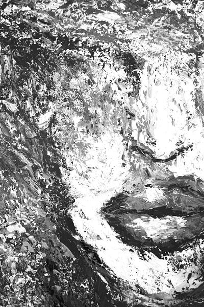 Black and White portret palette knife von Dunja Paolo