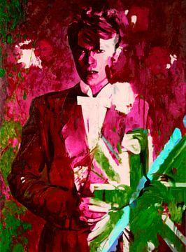 Motiv Portät - David Bowie Union Jacks - The Duke Chic - Blood Red van Felix von Altersheim