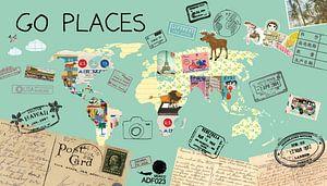 Go Places Welt Karte von