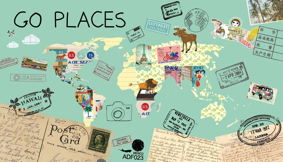 Go Places Welt Karte van Green Nest