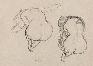 Zittend naakt met lang haar, studie van twee, Gustav Klimt (ca. 1901–1902) van Atelier Liesjes