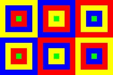 6 permutaties met middengroen | ID=07 | V=07 | Boxed van Gerhard Haberern