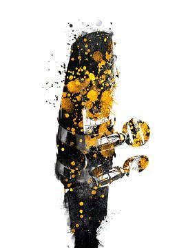 Saxofoon 4 muziekkunst goud en zwart #saxofoon #muziek van JBJart Justyna Jaszke