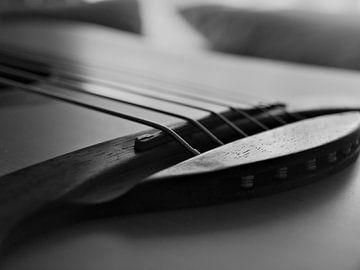Eine Nahaufnahme der Brücke einer Akustikgitarre von Martijn Wit