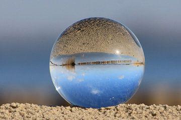 Slotermeer in de glazen bol. Friesland nabij Balk.
