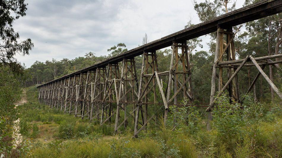 Oude treinbrug, Lakes Entrance Australie van Chris van Kan