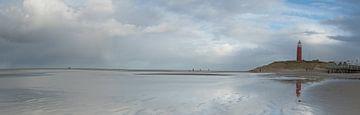 Vuurtoren en strand op Texel - panorama van
