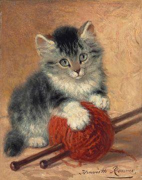 Ein Kätzchen mit einem Wollknäuel von Antonije Lazovic