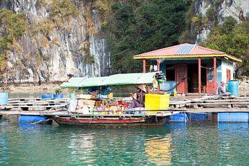 Verkoopboot in een drijvend dorp in Vietnam van t.ART