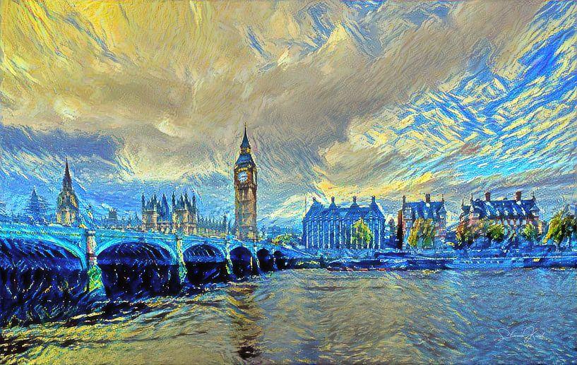 London Bridge in de stijl van Van Gogh Sterrennacht van Slimme Kunst.nl