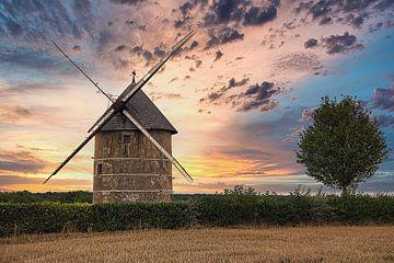 Windmühle bei Sonnenuntergang von Nico Landuyt