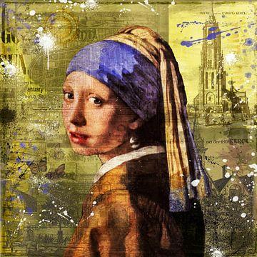 Het meisje met de parel van Johannes Vermeer van Rene Ladenius Digital Art