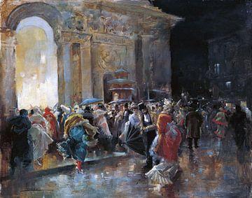 Gemaskerd bal, Eugenio Lucas Villaamil, ca 1895 van Atelier Liesjes