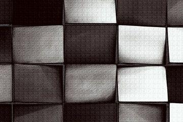 Abstract vierkanten in zwart wit van Maurice Dawson