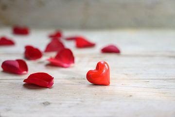 rotes Herz aus Glas und Rosenblättern auf rustikalem grauem Holzgrund, Liebeskonzept mit Kopierraum, von Maren Winter