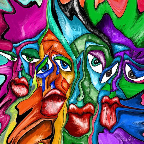 Abstrakte Kunst - Fluid Painting Faces Urban Art von Patricia Piotrak
