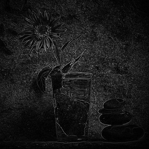 Stilleven met zonnebloem in zwart-wit