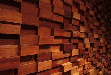 Abstracte houten wanddecoratie van Jelle Ursem